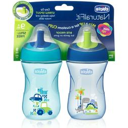 Chicco First Straw Trainer No Spill Sippy Cup 9M+, 9oz Blue/