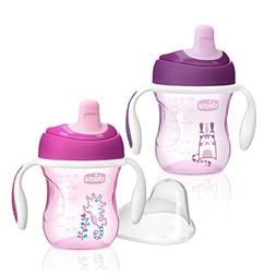 Chicco NaturalFit Semi Soft Spout Trainer Sippy Cup, Pink/Pu