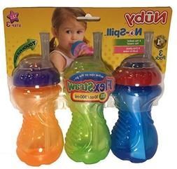Nuby Flexstraw 3-Pack No-Spill 10 Ounce Sippers