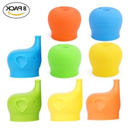 8Pc Food Grade Silicone Sippy Cup Lids + Elephant Spill-proo