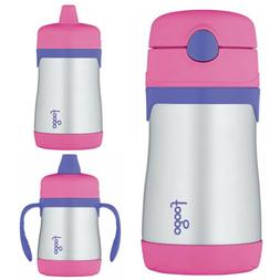 Thermos Foogo Vacuum Insulated 10-Ounce Straw Bottle with Si