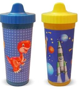 USA Kids Travel Fun with Space & Dinosaur Sippy Cups, Blue/Y