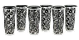 Tupperware Geo Illumina Tumblers Set of 6 in Black and Clear