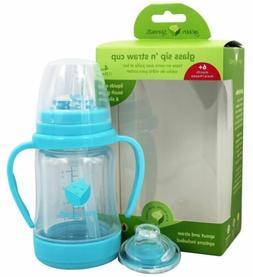 green sprouts Glass Sip 'n Straw Cup, Aqua, 1 ea