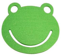 Lucore Happy Green Frog Felt Kids Drink Coasters, 5 pc set T