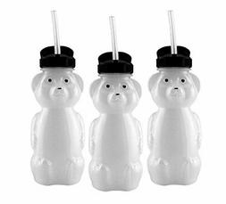Honey Bear Straw Cups ; 8-Ounce Therapy Sippy Bottles w/Flex