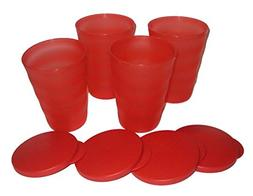Tupperware Impressions Tumblers 11oz Set of 4 Watermelon Red
