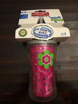 Playtex Insulator Twist 'n Click Straw Sippy Cup Girls 9oz p