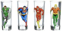 Zak Designs JUSG-S430 Justice League Comics Mini Glass 4 Pie