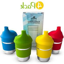 Kiddadles Stainless Steel Cups with Silicone Sippy Lids and