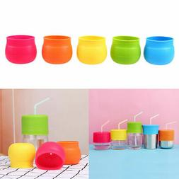 Kids Children Sippy Glass Cup Lid Silicone Snug Straw Spill-