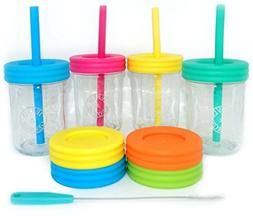 Kids 8oz Glass Mason Jar Drinking Cups with Straw Lids + Lea