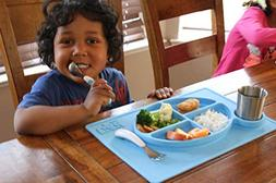 Kids one-piece silicone placemat + plate. All-in-one divider