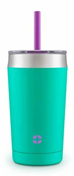 Kids Tumbler 12 oz Mint Vacuum Insulated Stainless Steel Gro