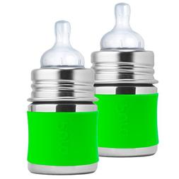 Pura Kiki Stainless Steel Infant Bottle with Green Silicone
