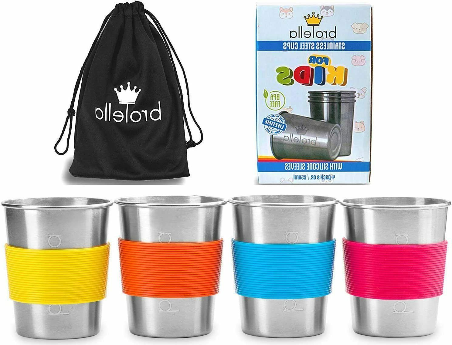 4pk 8oz Stainless Steel Cups Sippy Cup