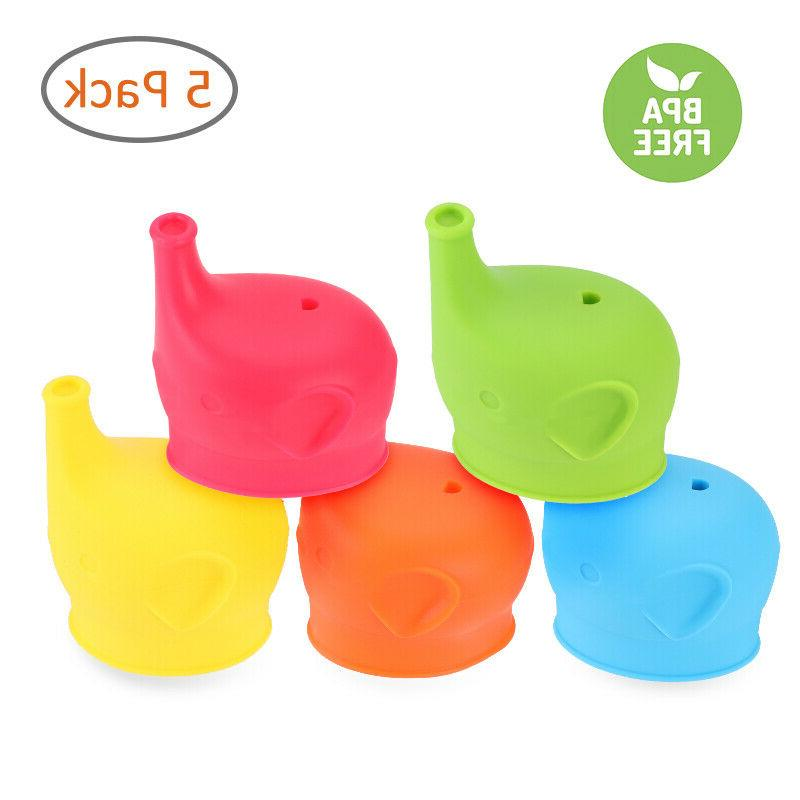 5x toddlers babies bpa free silicone sippy