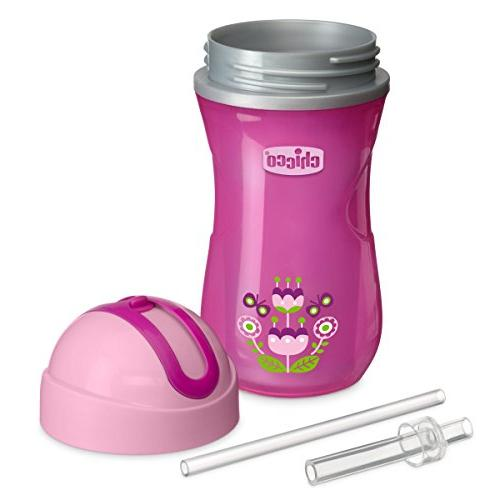 Chicco NaturalFit Insulated Top Straw Pink/Purple, Ounce, Count