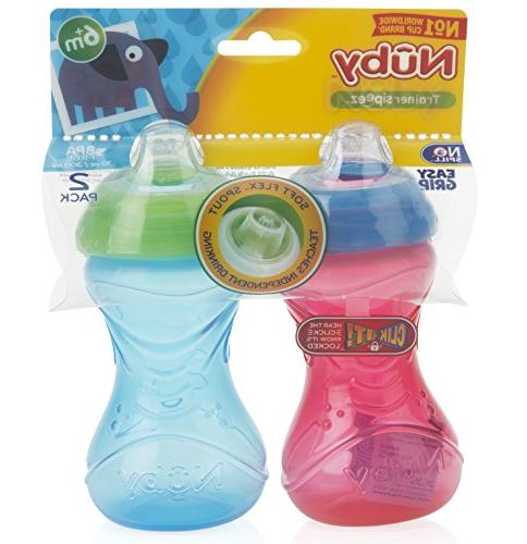 Nuby 2-Pack No-Spill Grip Ounce, Colors May