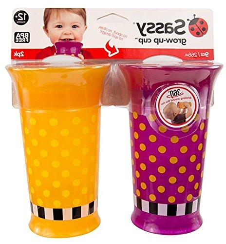 Sassy 2 Count Grow Up Cup, Purple/Orange, Ounce
