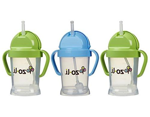 Zoli Baby BOT Straw Sippy Cup 6 oz - 3 Pack, Green/Blue/Gree