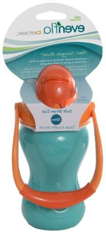 Evenflo Advanced Straw Cup with Swinging Handle, Orange/Teal