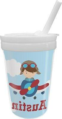 airplane and pilot sippy cup with straw