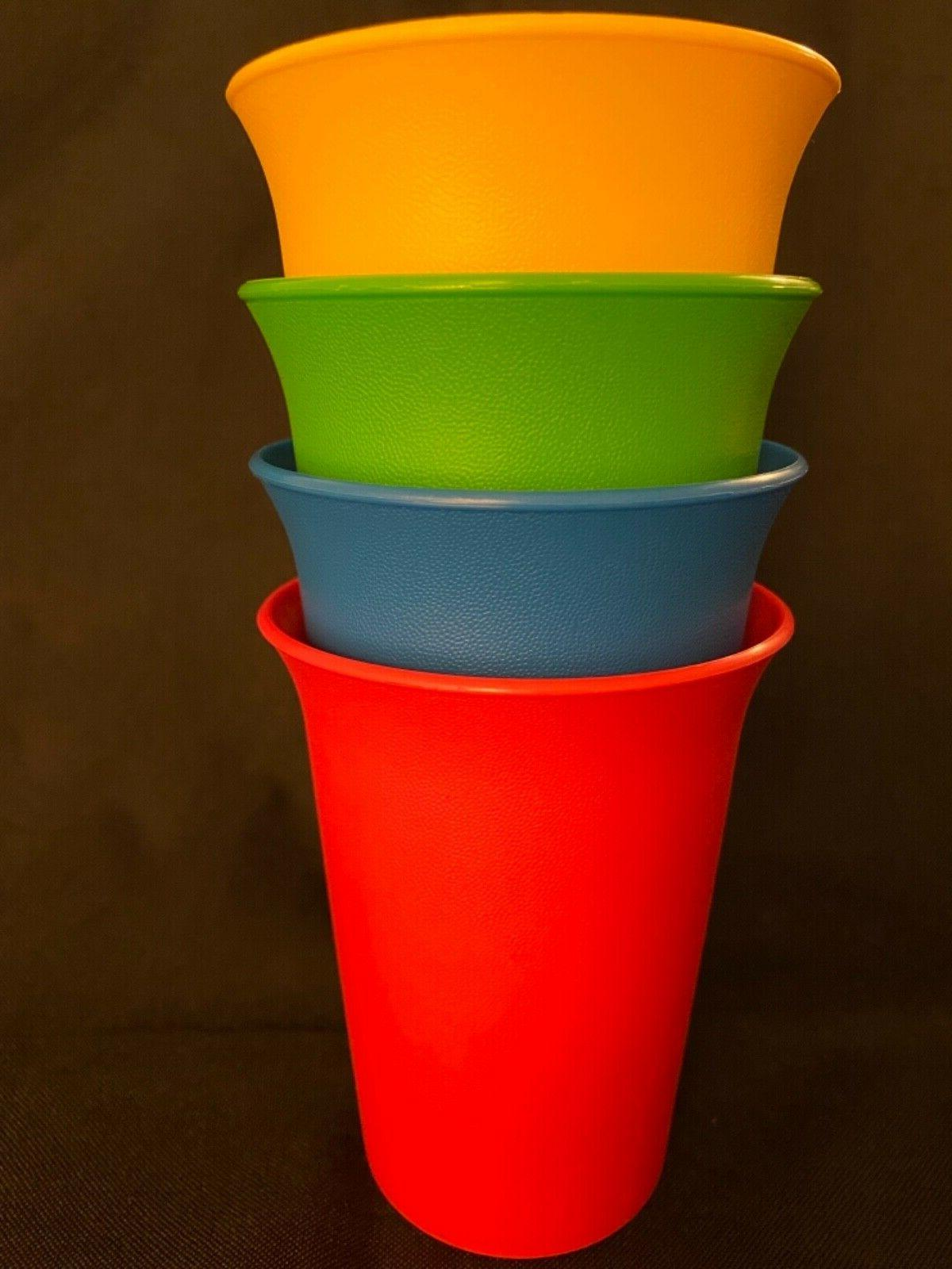 Tupperware Set Of ~ 7 oz.Kids Cups~Red~Blue~Green~YellowNew