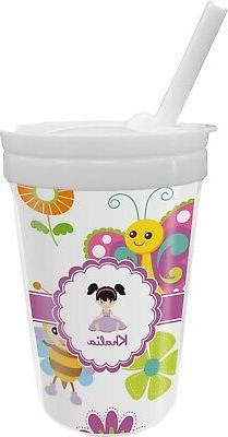 butterflies sippy cup with straw personalized