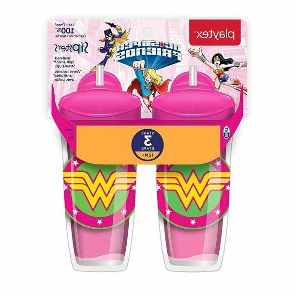 Playtex DC Super Friends Playtime Insulated Straw Cups No BP