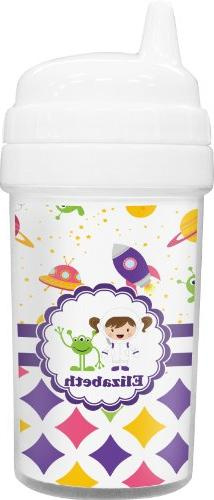 Girl's Space & Geometric Print Toddler Sippy Cup