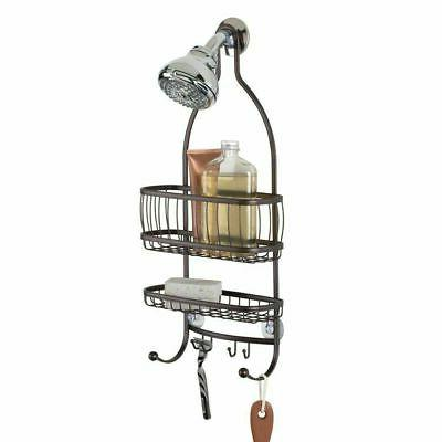 metal bathroom tub and shower caddy hanging