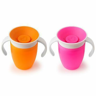Munchkin 360 Cup Pink/Orange 2 Count