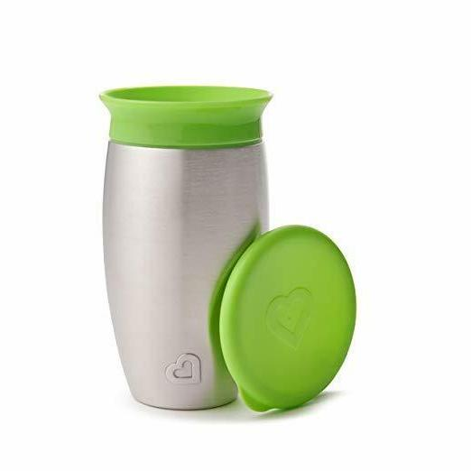 miracle stainless steel 360 sippy cup green