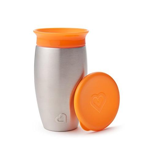 Munchkin Miracle Stainless Steel 360 Sippy Cup, Orange 10 Ou