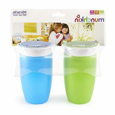 Munchkin 360 Cup, Green/Blue, 10 Ounce, 2 Count