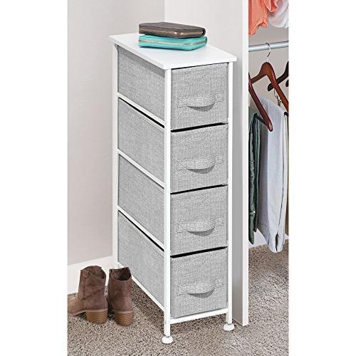 mDesign Storage Steel Frame, Wood Top, Easy Pull Bins - Organizer Bedroom, Hallway, - Textured - 4 Drawers,