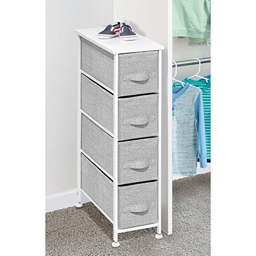 mDesign Narrow Vertical Storage Steel Wood Easy - Organizer Unit Bedroom, Hallway, Entryway, Closets - 4 Gray/White