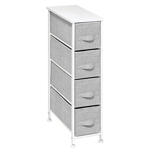mDesign Narrow Storage Tower Sturdy Steel Wood Easy Fabric Bins - Organizer Bedroom, Hallway, - 4 Drawers,