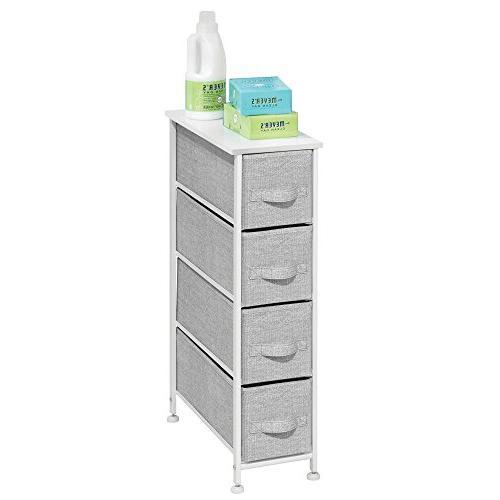 Storage Tower - Steel Wood Easy Pull - Organizer Unit Bedroom, Hallway, Closets - Print - 4 Drawers,