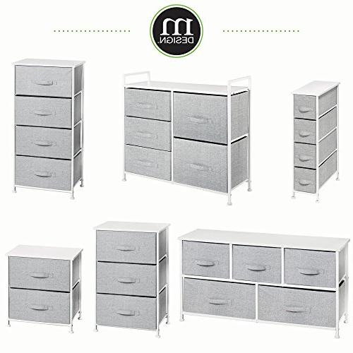 mDesign Narrow Dresser Storage Sturdy Steel Wood Top, Easy Pull Fabric - Unit Bedroom, Hallway, Closets - Print 4 Drawers, Gray/White