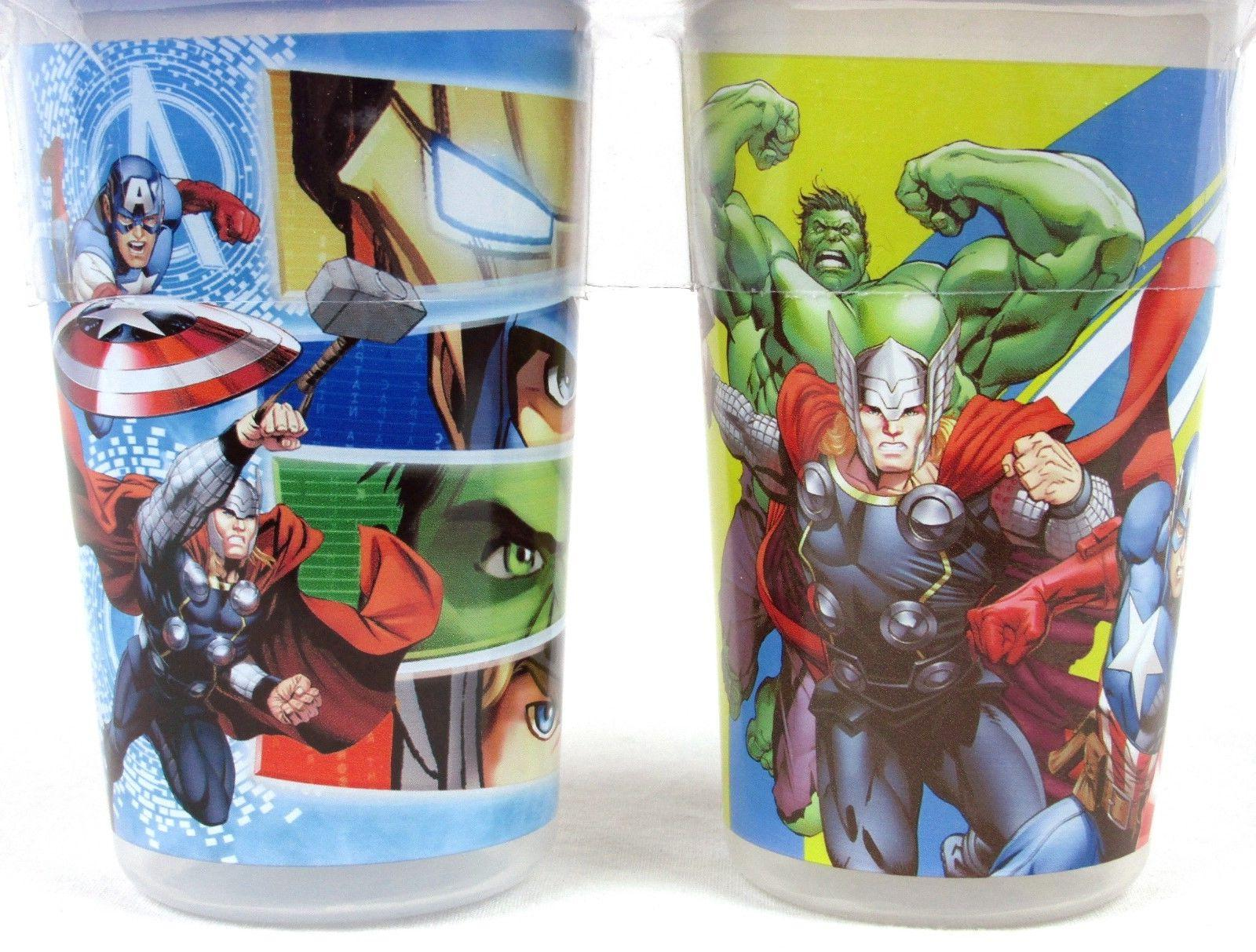 New Marvel Avengers Assemble 10oz Sippy Cup Set Of 2 Multicolor Spill Proof BNIP