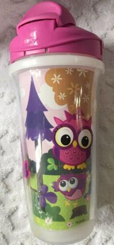 NEW Playtex 3 Sippy Cups Girls 9 Butterflies Owls