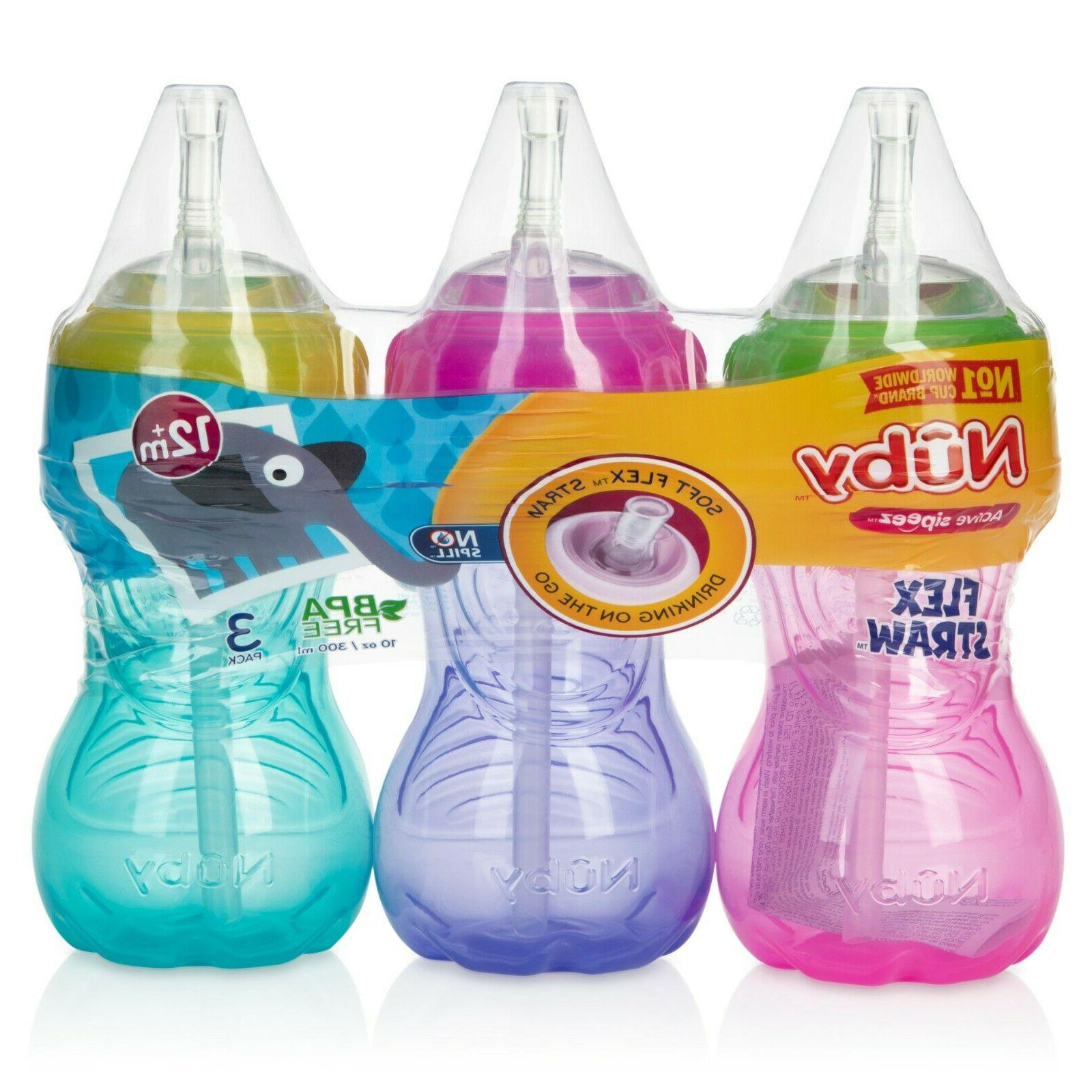 Nuby 3 Pack No-Spill Straw 10 Ounce