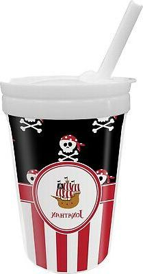pirate and stripes sippy cup with straw