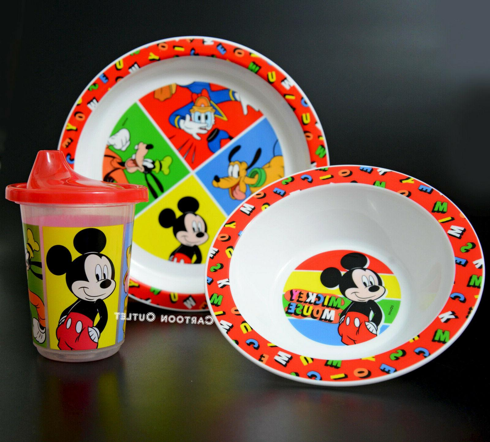 Disney Plate Bowl & Learner Sippy Cup 3 pc Dinner set Mickey