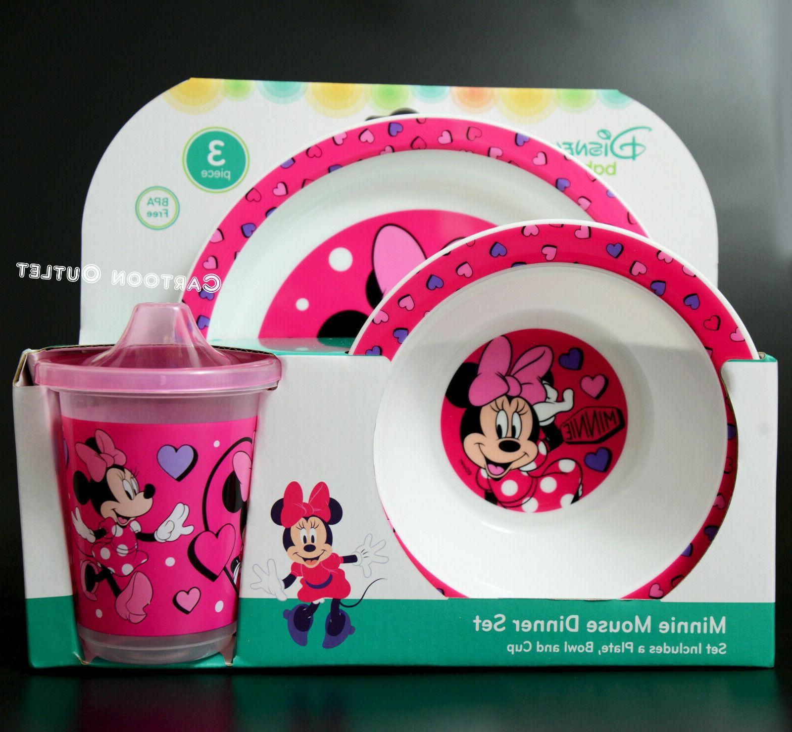 Disney Learner Sippy Kids 3 Dinner set Minnie Mouse