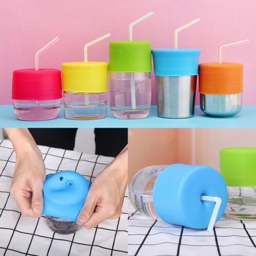 silicone baby toddler sippy cup lid straw