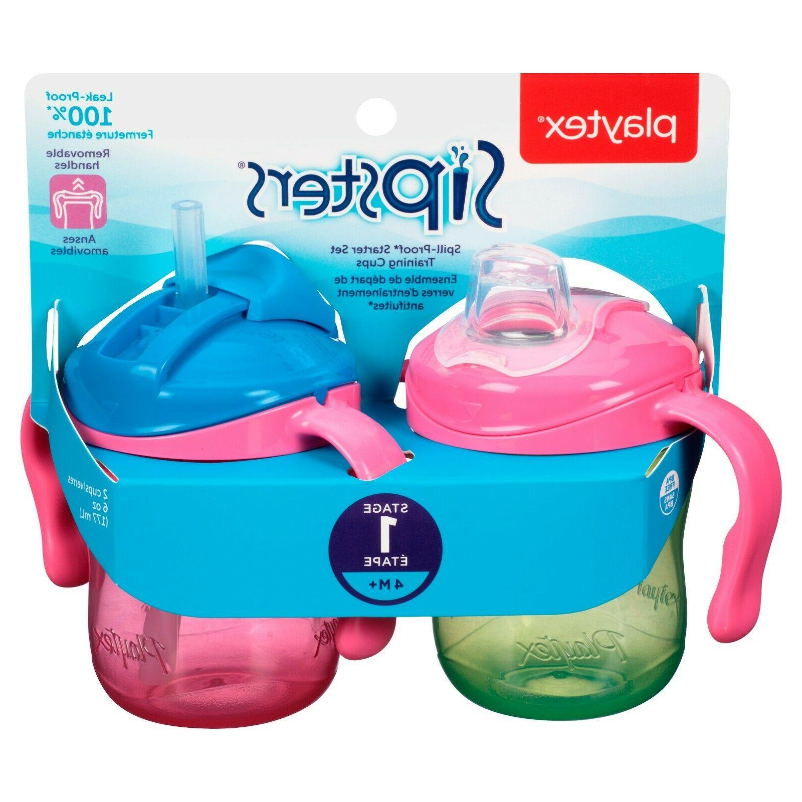 Playtex Sipsters Stage 1 Straw & Spout Trainer Sippy Cups, 6