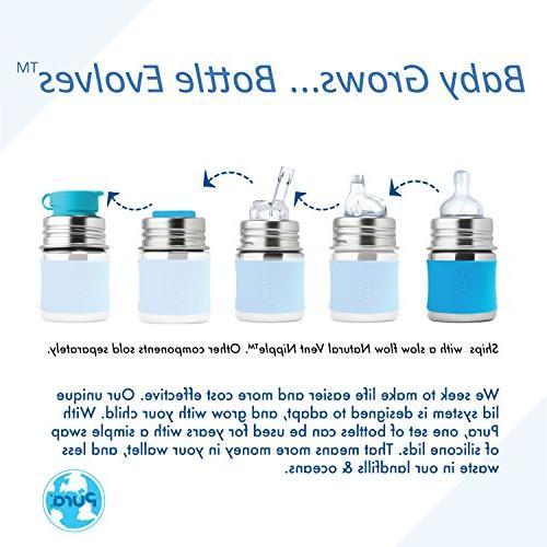 Pura Gift Set ml Infant Bottles Silicone Slow-Flow Nipples , Sealing , Travel Covers Sleeves Aqua
